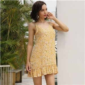 Yellow sexy halter top travel holiday floral print dress