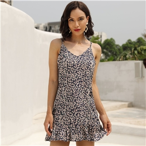 Blue sexy halter top travel holiday floral print dress