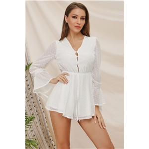 Fashion Solid Color Horn Long Sleeve Sexy V-neck Chiffon Jumpsuit Shorts