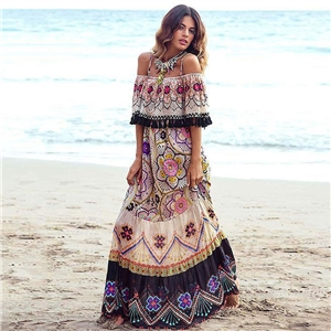 Bohemian print dress with an off-the-shoulder beach holiday swing skirt