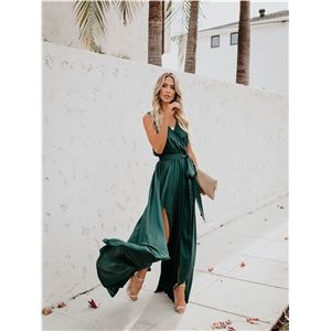 Bohemian green V-neck sleeveless high-open hem dress dress