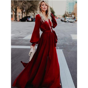 Solid color long section with V-neck split long-sleeved ruffled long dress evening dress