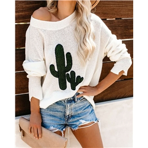 Cactus Print Sleeve Round Neck Loose Sweater Women's Sweater