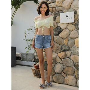 Denim light-edged washed jeans slim shorts hot pants