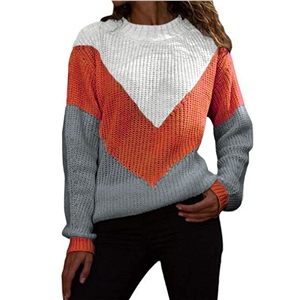 Contrast stitching knit sweater female loose large size sweater