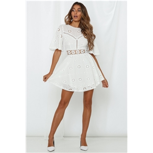 White cotton embroidered openwork lace stitching halter dress skirt