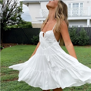Bohemian white lace stitching strap tassel tie rope dress