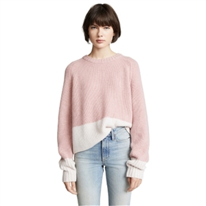 Simple daily round neck white color matching knit loose rags back hollow sweater