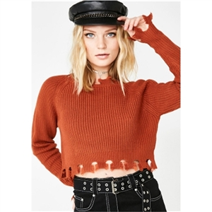 Casual street personality distressed edge round neck rib short knit sweater