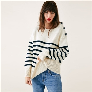 Loose Round Neck Knit Stripe BF Wind Side Button Long Sleeve Sweater