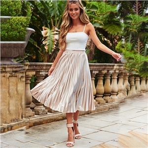 Women's long solid color chiffon skirt slim pleated skirt skirt skirt