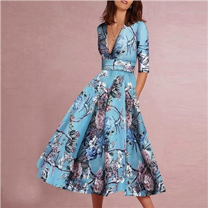 Sexy Deep V Waist Swinging Bohemian Dress Hand-painted Flower Print Dress