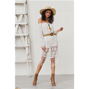 White stitching bohemian holiday style shoulder lace dress