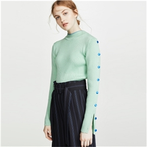 Simple green half-high collar slim button slit long-sleeved knit sweater