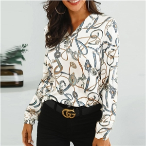 White stand-up casual wild fashion print shirt