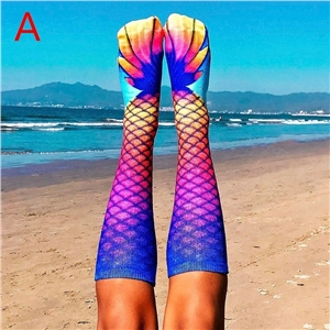 Mermaid pattern printed lady's stockings