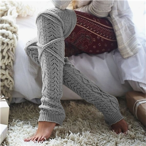 Knitted solid color over the knee in the tube wool socks stockings
