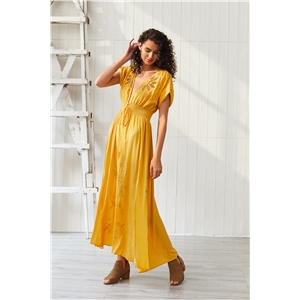 Yellow man cotton openwork embroidery bohemian dress long skirt