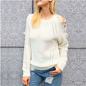 Autumn and winter solid color knit banding shirt sweater