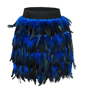 Blue fashion sexy feather stitching irregular half-length mini skirt