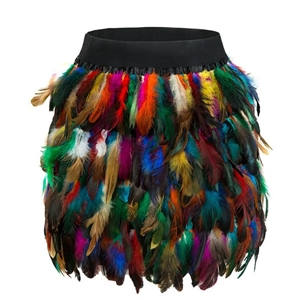Color fashion sexy feather stitching irregular half-length mini skirt