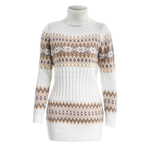 Autumn and winter long high collar print sweater sweater