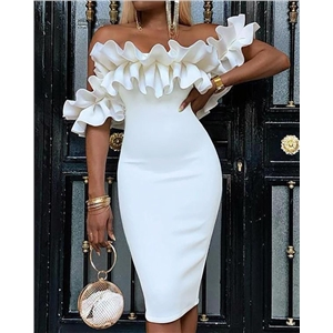 White sexy ruffled sleeves hip skirt pencil skirt