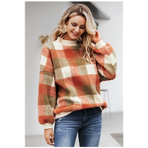 Autumn and winter round neck color plaid sweater imitation lamb hair casual bottoming shirt