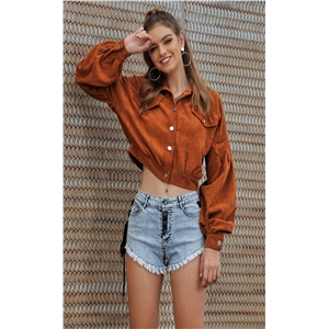 Brown fashion corduroy stitching versatile short casual versatile jacket