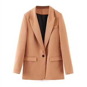Autumn boyfriend wind solid color one button suit jacket