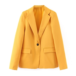 Autumn yellow one button suit jacket women's clothing