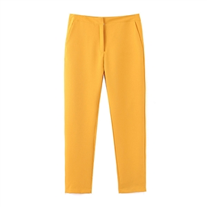 Autumn yellow basic solid color trousers