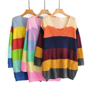 V-neck knit rainbow striped sweater