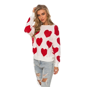 White fashion personality love open back sweater pullover sweater