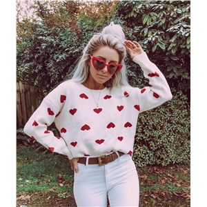 2019 autumn and winter models white love print sweater sweater women
