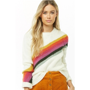 Color block stitching large size long sleeve sweater sweater women