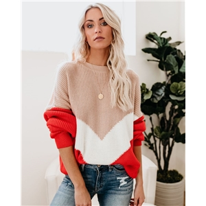 Autumn and winter color block stitching large size loose pullover sweater women
