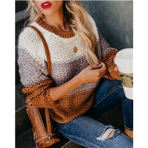 Fashion color stitching long sleeve round neck pullover sweater