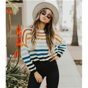 Colorful round neck striped large size knit sweater