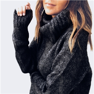 Solid color sweater mohair high collar pullover sweater female