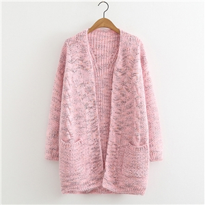 Autumn and winter warm thickening furry variegated knit cardigan