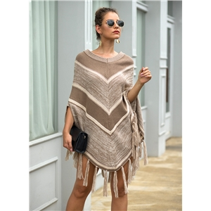 Fringed cloak shawl geometric color matching round neck pullover sweater women