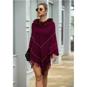 Autumn and winter models solid color tassel shawl cape fur collar beaded ladies sweater