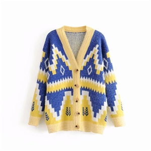 Autumn mohair diamond pattern knit cardigan