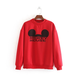 Solid color cartoon print plus velvet sweater women's clothing