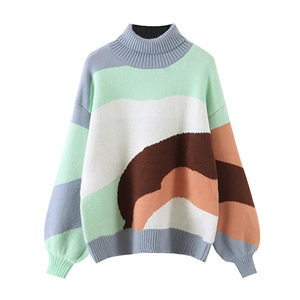 Vintage high neck color stitching sweater