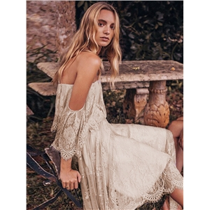Bohemian lace stitching one-shoulder dress