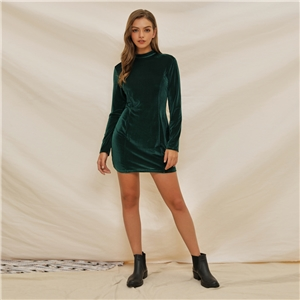 Green ladies thick diamond velvet solid color high collar slim slimming one-step dress