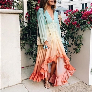 Long deep V long sleeve gradient dress maxi skirt