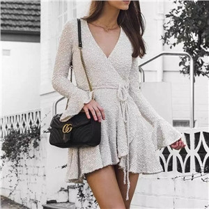 White Sexy Deep V Long Sleeve Lace Dress